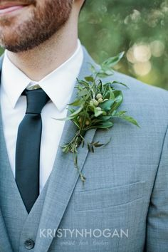 Perfectly green and organic boutonniere! #cedarwoodweddings Wood and White :: Cedarwood Style Inspiration | Cedarwood Weddings