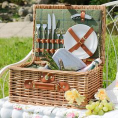 This luxury picnic hamper is made from natural willow with a brown leather handle and straps with stylish gold embellishments. Inside the picnic basket is lined with a soft vintage green tartan print and contains 2 ceramic plates, 2 sets of stainless steel knives, forks and spoons, a corkscrew/bottle opener and a removable green tartan cool box to help keep sandwiches and bottles chilled. The cutlery and crockery are secured in place with brown leather straps and the picnic basket can be…