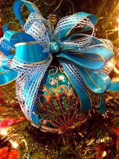 OOAK Glass Peacock Christmas Ornament Embellished Holiday Bulb. $11.99, via Etsy.