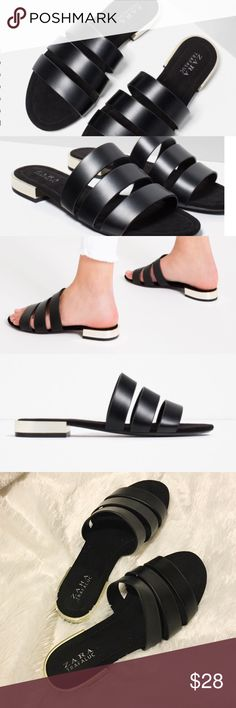 Zara Black Strappy Flat Sandals Zara Black Strappy Flat Sandals - Size 8. Black with gold on heel. Super comfortable. Fit true to size. Worn once - see last pic that shows small lines on inner straps where shoes rubbed together...not noticeable when worn. Zara Shoes Sandals