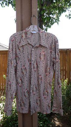 Vintage 1960s Men's Shirt  Mod Hippie Nylon by LostYearsVintage