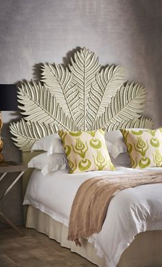 Make a statement in your bedroom with this striking king-sized palm leaf-shaped headboard. Hand-made, as well as hand-painted, the subtle grey/green finish complements the not-so-subtle design. Bohemian Headboard, Green Headboard, King Headboard, Apartment Bedroom Decor, Bedroom Themes, Bedroom Ideas, Safari Bedroom, African House, Neutral Bedrooms