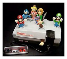 Super Mario, Family and Friends!. #Birthday #Cake #Sweat #Desserts #Nintendo #Nes #Characters #Controler.