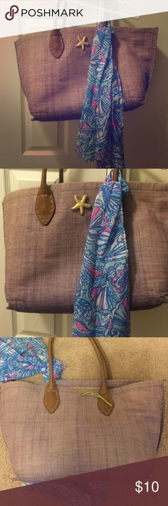 Lily Pulitzer bag Blue bag with straw inside; which is ripped; comes with a tie, which can be used on another bag or as a scarf; price reflects damage Lilly Pulitzer for Target Bags Hobos