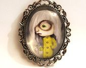 Beautiful cameo brooche with Winter girl Susi's original art print silver colored big eye needle safety pin