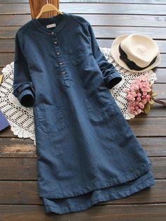 #SheIn - #SheIn Half Placket Multi Pocket Shirt Dress - AdoreWe.com
