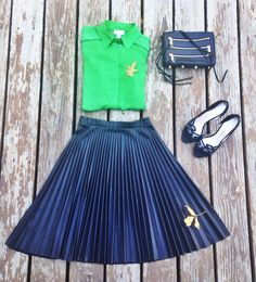 Emerald and Leather Pleats