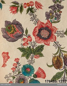 Fabric design? - Swedish Virtual Museum Ikat Pattern, Textile Patterns, Textile Prints, Textile Design, Flower Patterns, Fabric Design, Print Patterns, Folk Embroidery, Indian Embroidery