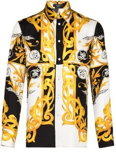 Moda Masculina - Camisas - Farfetch Versace Silk Shirt, White Silk, Black And White, Baroque Pattern, Print Patterns, Pattern Print, Denim Shirt Men, Acanthus, Kimono Top