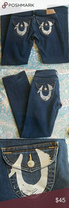 True Religion Joey Silver Foil Flap Pocket Well taken care of preowned jeans. In great condition.   *Pet and smoke-free home! I often adjust my price during Posh parties and promos, keep an eye out!! Offers welcomed! True Religion Jeans Straight Leg