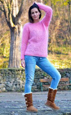 Pink Hand Knitted MOHAIR Sweater Fuzzy Crew neck Spring Jumper by EXTRAVAGANTZA #EXTRAVAGANTZA #Crewneck
