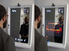 R Labs Reveal Mirrow   the mirror uses face recognition to call up personalized data, including health stats, a calendar, news feeds, and other information relevant to your morning routine. Voice commands switch between views, and gestures activate content, including fullscreen video messages from other mirror users