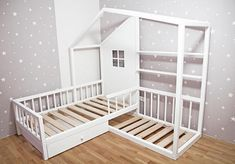 Montessori L-shape house bed with drawer