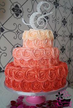 Ombre Rosette Wedding Cake