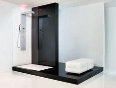 Black and white minimalist bathroom, Viva by Aquademy _