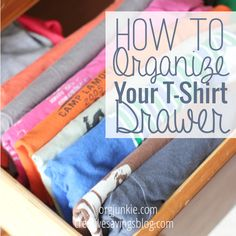 Turn that t-shirt mess into a pretty organization project with this quick tutorial. It only takes 5 minutes, but gives you so much more room to store clothes!