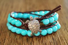 Sea Turtle Bracelet, Leather Beaded Wrap Bracelet, Beachy Jewelry, Nautical Jewelry, Bohemian, Boho Chic, Surfer Sea Chic