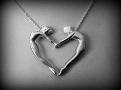 a Beautiful Dancers heart necklace-sterling silver Romeo and Juliet necklace Romeo and Juliet pendant ballerina necklace by NetaGilboa