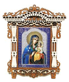 Stunning blooms of unconditional maternal love surround portrait of Holly Mary and baby Jesus. This beautiful foil embellished Orthodox Russian icon is set into a hand crafted wooden frame. The frame Religious Pictures, Religious Icons, Religious Gifts, Ghent Altarpiece, Greek Symbol, Unique Gifts For Kids, Russian Icons, Russian Orthodox, Orthodox Icons