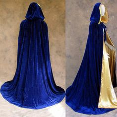 Blue Velvet Cloak Lined in Gold Satin : Artemisia Designs:, Historical and Fantasy Apparel for the Regular and Plus Size - Renaissance, Medieval, Victorian, Cloaks, and LARP