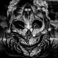 """Tradicionalmente, los tatuajes (tattoo) de calaveras mexicanas han simbolizado la muerte con una """"M"""" mayúscula, ¡pero no de una manera siniestra o negativa! Si hay un hecho innegable en este planeta, es que ningún ser humano escapa de la Parca, por rico o famoso que sea.! Tattoos Motive, Bone Tattoos, Skull Tattoos, Kunst Tattoos, Tatuajes Tattoos, Dark Fantasy Art, Dark Art, La Santa Muerte Tattoo, Calaveras Mexicanas Tattoo"""