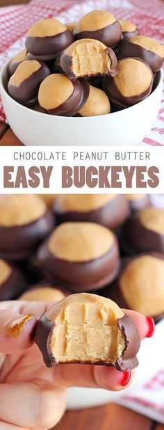 Seriously, you need to make these easy buckeyes. They're so good, so easy.so delish. SO AMAZING! Seriously, you need to make these easy buckeyes. They're so good, so easy.so delish! Candy Recipes, Sweet Recipes, Cookie Recipes, Dessert Recipes, Healthy Recipes, Cheap Recipes, Fast Recipes, Rice Recipes, Peanut Butter Recipes