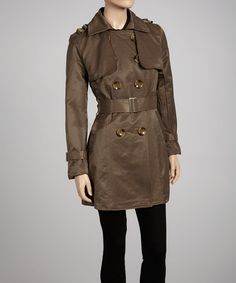 Take a look at this Mocha Double-Breasted Trench Coat by Luii on #zulily today!