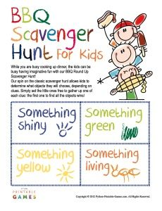 BBQ Scavenger Hunt For Kids