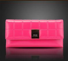 Hot Sale 2014 New Fashion Brief Design Plaid Long Women Patent Leather Wallet Clutch wallet Purse Sac a Main Portefeuille Bolsa $15.88