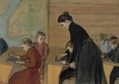 Primary school Magnus Enckell (Finnish, Oil on canvas. Enckell was one of the leading figures of the Golden Age of Finnish art. Stockholm, Kindergarten, Religion, Nordic Art, Vintage School, Illustrations, Sculpture, Elementary Schools, Primary School