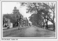 First Line Beach Road Madras 1915 (aka Rajai Salai Road)