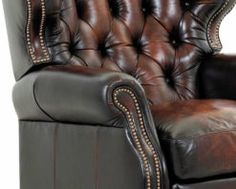 American Made Tufted Leather Recliner Comfort Design Marquis Leather Dining Room Chairs, Outdoor Dining Chair Cushions, Accent Chairs For Living Room, Cushions On Sofa, Leather Chairs, Dining Chairs, Sofa Couch, Couch Set, American Sofa
