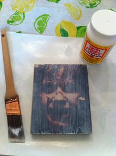 Mod Podge photo transfer to wood - sealing with Mod Podge