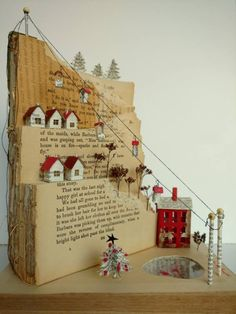 Idea: Tiered display for glitter houses Idea: Tiered disp. - Idea: Tiered display for glitter houses Idea: Tiered display for glitter hou - Paper Book, Paper Art, Cut Paper, Book Crafts, Diy And Crafts, Recycled Crafts, Decoration Evenementielle, Altered Book Art, Book Sculpture