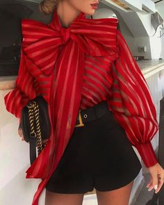 New Arrival Chic Womens Casual Mesh Long Lantern Sleeve Striped Bandage High Neck Puff Sleeve Tops Formal Blouse Shirts Big Bow - buy in dream Classy Outfits, Chic Outfits, Summer Outfits, Trend Fashion, Womens Fashion, Style Fashion, Punk Fashion, Lolita Fashion, Fashion Ideas