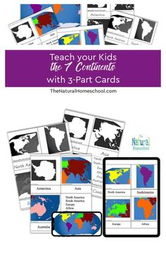 Teach your Kids the 7 Continents with 3-Part Cards We need you to get the Continents 3-Part Cards Printable and for you to be able to do these 4 Continent Studies activities at home with your children. #montessoricontinentsprintables #freeprintablecontinents #7continentsfreeprintables #teachingcontinentstopreschoolers Continents Activities, Name Activities, Hands On Activities, Geography Lessons, World Geography, Continents And Oceans, How To Start Homeschooling, Gifted Education, Homeschool Curriculum