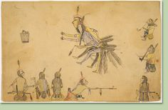"Hongeeyesa  First Nations (Assinboine)   1897  pencil and watercolour on paper  Glenbow Museum Collection;   The drawing depicts ceremonial dance called ""charging the kettle."" Wearing feather belts, two warriors dance with arms outstretched towards a kettle filled with dog meat. They charge it and give a taste to each person. This continues until they hit the head of the dog."