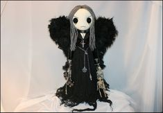 www.tatteredrags.etsy.com Feather Angel Wings, Button Eyes, Gothic Dolls, Black Spider, Doll Stands, Black Feathers, Black Leather Shoes, Vinyl, Doll Patterns