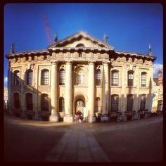 iPhone fish eye of Hawksmoor's Clarendon building