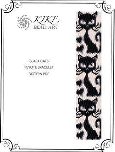 Pattern, peyote bracelet - Black cats peyote bracelet cuff pattern in PDF - instant download