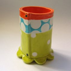 colorful pottery Utensil Holder or pencil cup bright by maryjudy