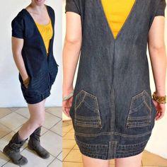 Customizando a calça vira um vestido.