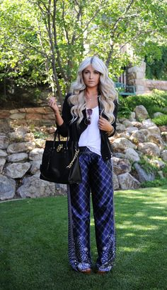 CL: palazzo pants. black cardigan, white tee tucked in. shades.