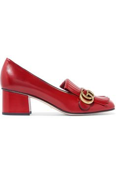 Gucci | Marmont fringed logo-embellished leather pumps | NET-A-PORTER.COM