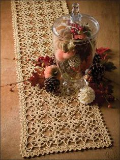 Crochet for the Home - Crochet Tablecloth & Table Runner Patterns - Trellis of Love