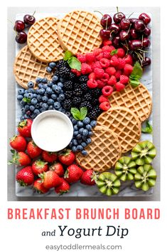 Kids crave variety more than anything, which makes this breakfast brunch board and yogurt dip such a Dessert Party, Brunch Party, Snacks Für Party, Easy Toddler Meals, Breakfast Platter, Party Food Platters, Charcuterie And Cheese Board, Tasty, Yummy Food