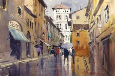 """""""Rainy Day in Lucca"""" watercolor by Ron Stocke. Come join the painting vacation of a lifetime as you travel to Italy and seek out the best sites to paint in Lucca, Italy. With a day trip to Pisa built in, this week long workshop promises to give you memories, and paintings to last a lifetime. May 20th-24th, 2013. Details of the workshop can be found on our website."""