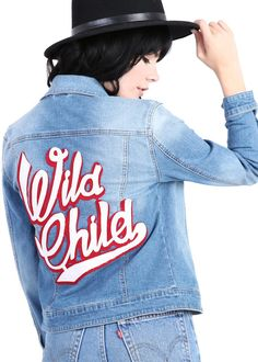 Upgrade your wild child factor in an instant with this rad denim jacket! The slim fit jacket is made in from a lightly distressed, faded medium blue wash denim fabric and is showcasing a large 'WILD C