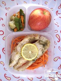 Mommy's Lunch: Baked blue hake fish over carrot strings, cauliflower, snow peas and carrot blend, and an apple. Packed in an #EasyLunchBoxes