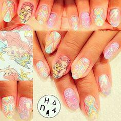 Pastel little mermaid nails Little Mermaid Nails, The Little Mermaid, Nautical Nail Art, Tribal Nails, Professional Nail Art, Disney Nails, Perfect Nails, Summer Nails, Fun Nails